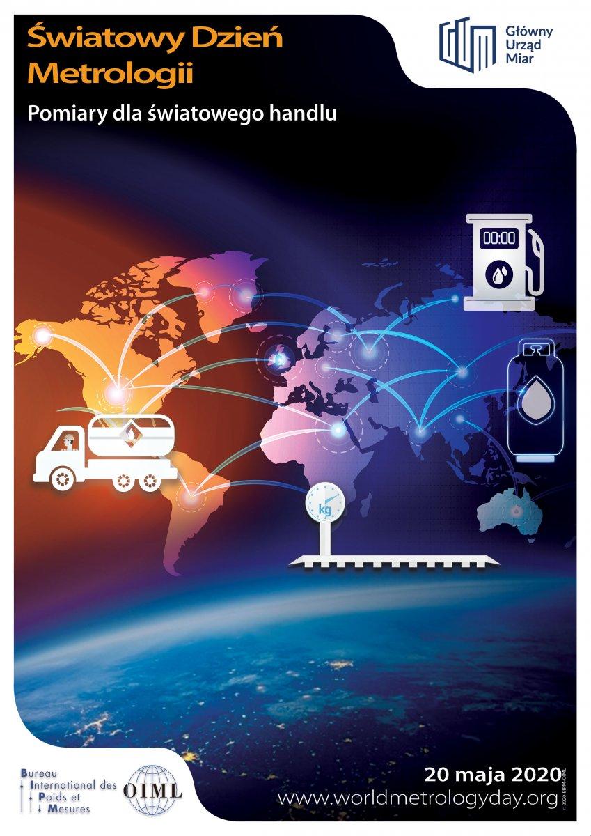 Plakat Pomiary dla światowego handlu,  aby podnieść świadomość na temat ważnej roli, jaką odgrywają pomiary w globalnej wymianie handlowej, ale i podczas transakcji przeprowadzanych lokalnie, na mniejszą skalę.