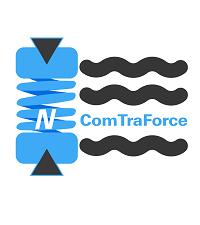 Logotyp projektu ComTraForce w kolorach niebieskim i czarnym